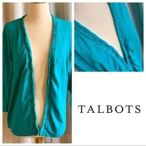 Talbots Green Ruffle Cardigan 3/4 Sleeve, Size 2X